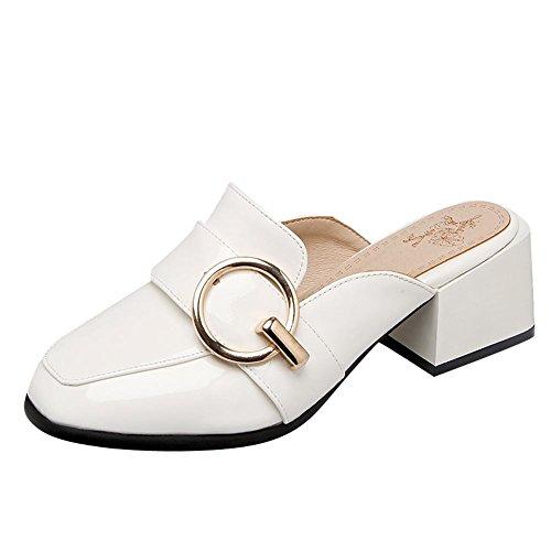 Mee Shoes Damen bequem vierkant chunky heels Pantoletten Weiß