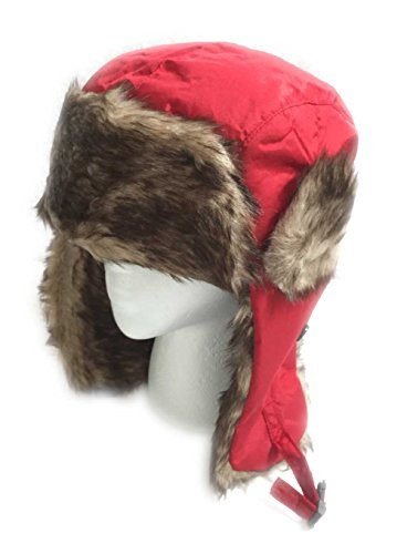 Aesthetinc Faux Fur Fashion Aviator Winter Hat (Red)