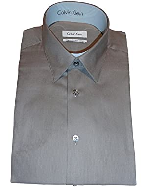 Calvin Klein Men's Regular Fit Shirt, Size 16-34/35, Pecan