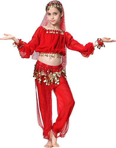 Long Sleeve Christmas Dance Costume for Girls 3T 4T 4 Red - Kids Christmas Dance Costumes