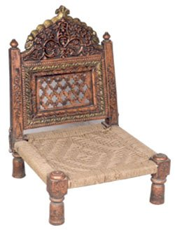 Royal Rajasthani Rajwadi Folding Wooden Chair With Jute Seat Low Seating