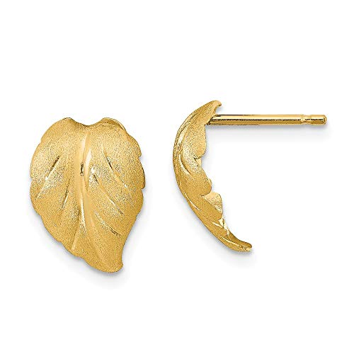 Leslies's 14k Yellow Gold Polished and Brushed Leaf Stud Earrings
