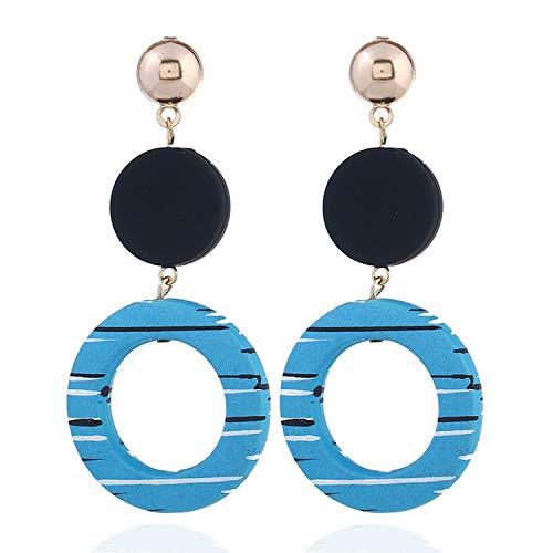 (Multicolored Statement Round Pendant Earrings Jewelry Geometric Trendy Drop Dangle Long Earring for Women C)