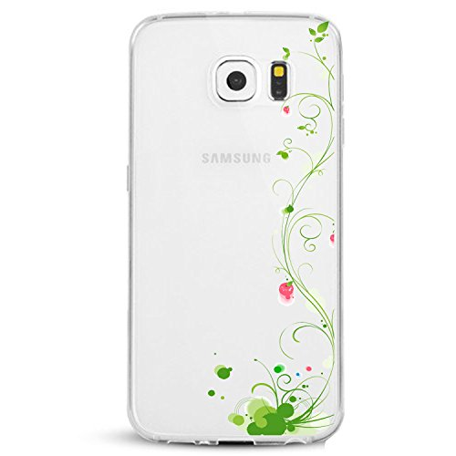 Price comparison product image Beryerbi Samsung Galaxy s7 Edge Case Floral Flower Transprent Ultra Skinny Flexible TPU Slim-Fit Shcockproof Fingerprint-Anti Cover (2, Galaxy s7 Edge)