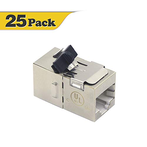 VCE 25 Pack RJ45 CAT6A Female to Female Shielded Keystone Jack Insert in-Line Connector Coupler with Fixed Buckle