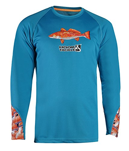 Hook & Tackle® Mens Redfish Tails   Long Sleeve   Vented   UV Sun Protection   Performance Fishing Shirt