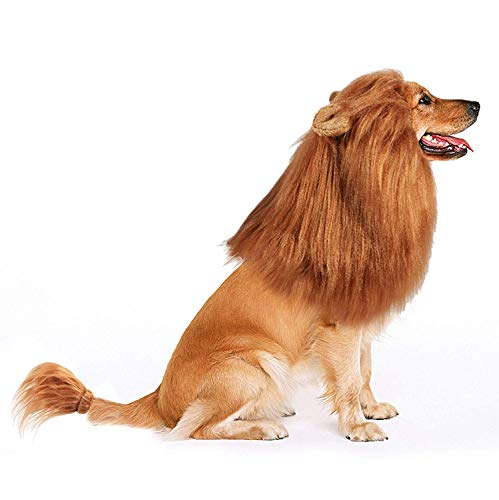 (Bascolor Dog Lion Mane Halloween Costume Festival Party Fancy Dress Clothes Hair with Ears Tail for Medium to Large)