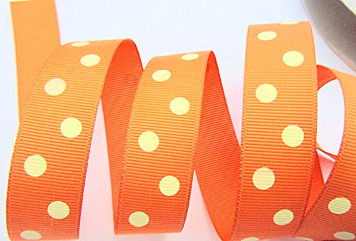 5 Yards Polka Dippy Dot Grosgrain 7/8 Ribbon/Craft/Supply Orange/Yellow #ID-487