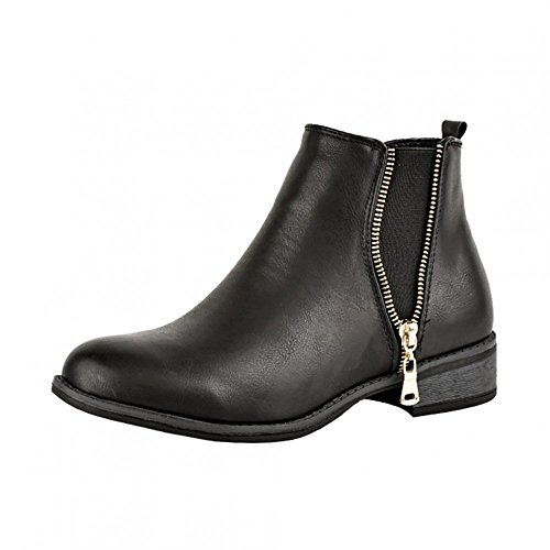Chelsea Boots Kick Tacco Caviglia Donna D5173 NERO Blocco Footwear XzqwqFpf