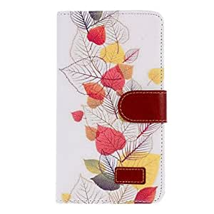 Colorful Leaves Drawing PU Leather Curtain Print Skin Hard Back Cover Pouches for Samsung Galaxy Note3 N9000