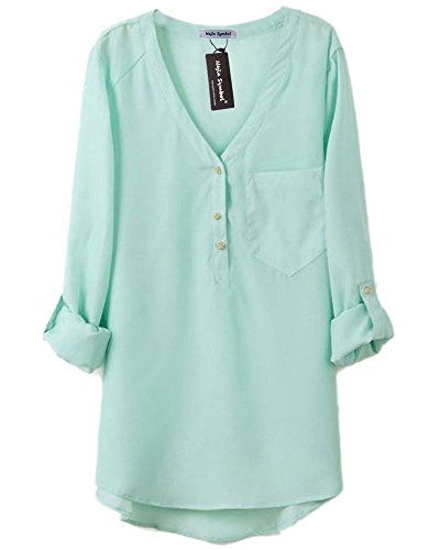 Najia Symbol Womens Summer Casual Long Sleeve Sheer Chiffon Shirts (Mint Green, M)