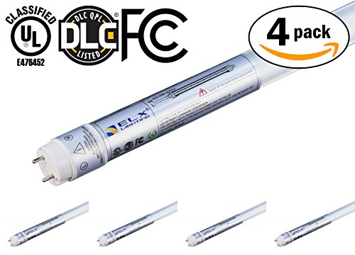 Paquete de 4Amerique T8tubo de luz LED tubos, UL & DLC & FC lista, 4pies/PC, 18W (40W Equivalente), 3000K (blanco...