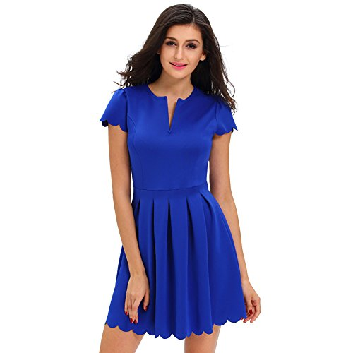 Women Dress Fashion for Short Dress V Womens Sleeve Party Pleated Blue neck 5wg1xqwF