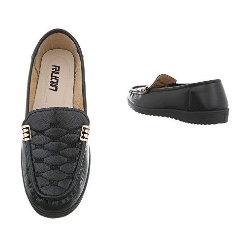 Damen Schuhe Mokassins Slipper Modell Nr.2Schwarz