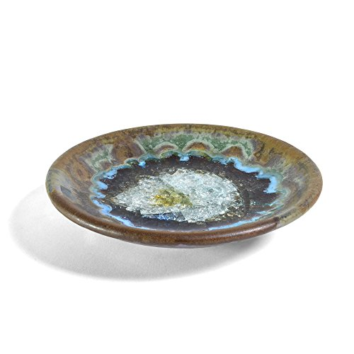 Dock 6 Pottery Small Wasabi/Trinket Dish with Fused Glass, Purple/Green ()