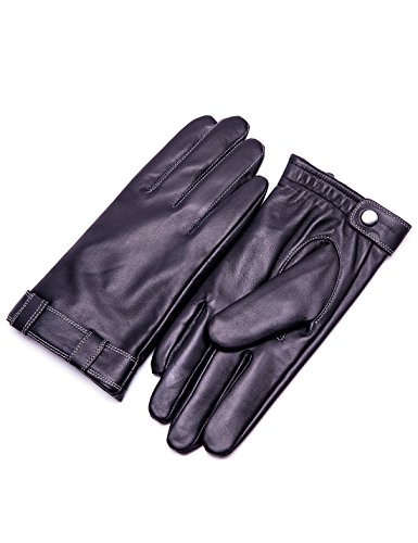 YISEVEN Men's Touchscreen Sheepskin Winter Leather Dress Gloves Lattice Style Fleece Fur Lined Genuine Hand Warm Heated LiningDriving Motorcycle Work Gifts, Brown 8.7