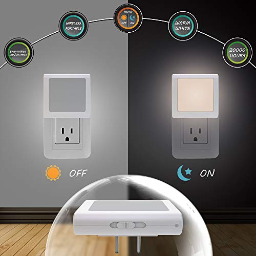MAZ-TEK Plug-In Led Night Light with Auto Dusk to Dawn Sensor,Adjustable brightness Warm White lights for Hallway,Bedroom, kids Room, Kitchen, Stairway, 2 Pack by MAZ-TEK (Image #2)