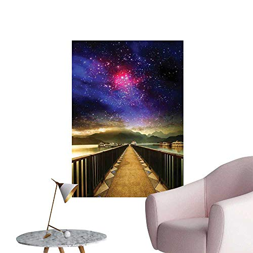 Jaydevn Universe Decor Canvas Wall Art Galaxy Cosmos Wooden Bridge Panoramic View Celestial Print Fashion Stickers for Wall Decorative W24 x -