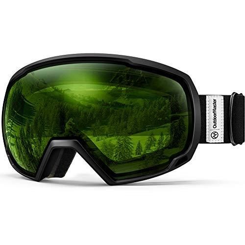 OutdoorMaster OTG Ski Goggles - Over Glasses Ski / Snowboard Goggles for Men, Women & Youth - 100% UV Protection (Black Frame + VLT 80% Light Green Lens)