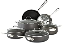 All-Clad E785SC64 HA1 Hard Anodized Nonstick Dishwasher Safe PFOA Free Cookware Set, 10-Piece. Black