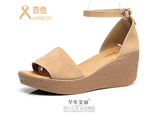 Xing Lin Ladies Sandals Summer Leather Platform With Sandals With Casual Flat Bottom Open Toe Comfortable Large Size Sandals apricot fxbOBnUu