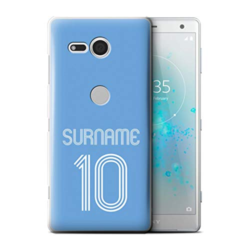 Personalized Custom Soccer Club Jersey Shirt Kit Case for Sony Xperia XZ2 Compact/Sky Blue Design/Initial/Name/Text DIY Cover