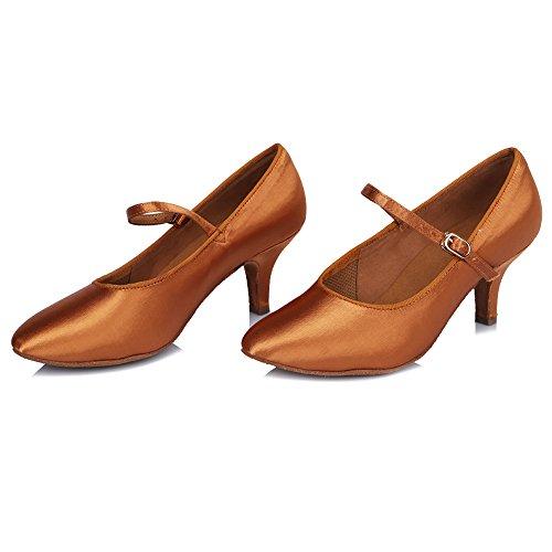 Standard 306 DE Satin Latin Damen Braun Dance Modell Tanzschuhe SWDZM Modern Schuhe Ballsaal Modern qty17xZcn