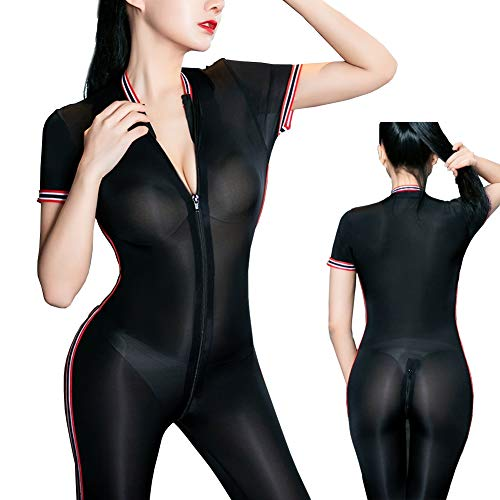 Women's One Piece See Through Sheer Long Sleeved Double Zipper Jumpsuit Gym Sports Bodystocking ()