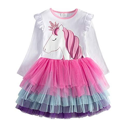ildren Kid Winter Long Sleeve Tutu Party Wedding Dresses LH4590-7T ()