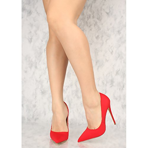 Shoes Pointy Women's Olivia Curved Vamp High Toe Stiletto Sculptured and Heel Jaymes Red Pump 7Hnxwq6T