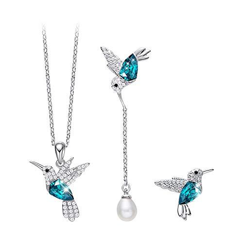 CDE Hummingbird Jewelry Set Women 925 Sterling Silver Swarovski Necklaces Earrings Fine Jewelry Sets