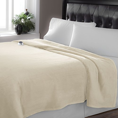 Serta Luxe Plush Low-Voltage Electric Heated Micro-Fleece Blanket, Full, Cloud (Giants Plush Fleece)