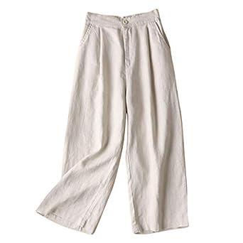 f255d097ab31 Cikuso Automne Nouveau Coton Lin Jambe Large Femme Pantalons Bouton Taille  Elastique Pantalons Casual Bureau Lache