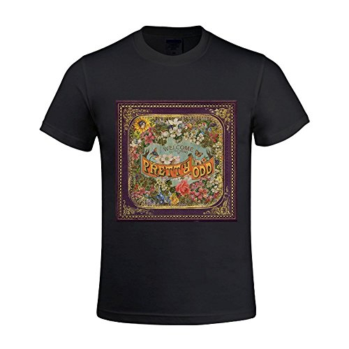 Existlong Panic at The Disco Pretty Odd Sport T Shirt for Men Crew Neck Black (Panic At The Disco Pretty Odd T Shirt)