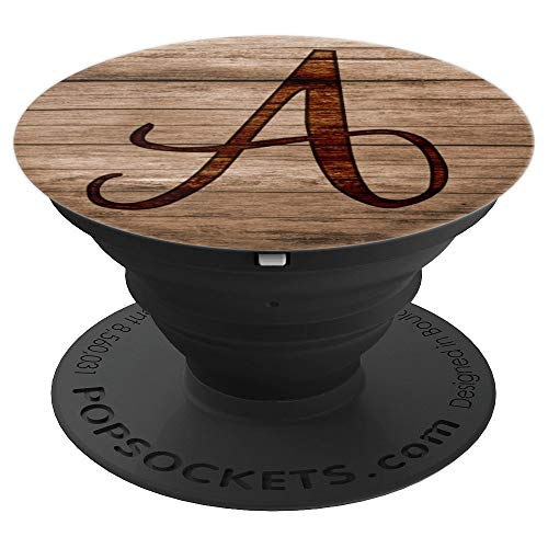 Letter A Wood Burnt Grain - PopSockets Grip and Stand for Phones and Tablets