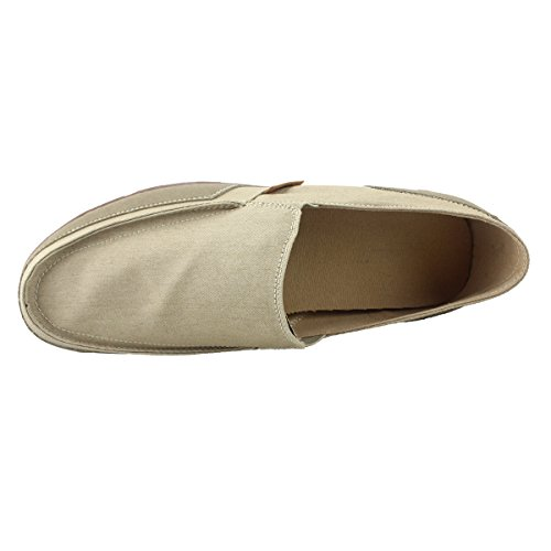 Fisca Heren Casual Canvas Loafer Schoenen Instapper Flats Beige