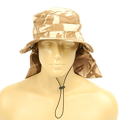 Original British Military Desert Booney Hat with Neck Protector 7.60 US (61cm)