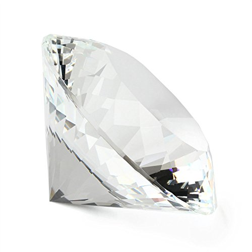Big 80mm Crystal White Paperweight Cut Glass Large Giant Diamond Jewel - Cut Shape Online In Photo Heart