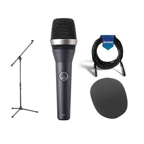 (AKG Acoustics D 5 Standard Dynamic Vocal/Speech Handheld Microphone - Bundle with Samson MK10 Lightweight Boom Mic Stand, On-Stage ASWS58 Foam Windscreen, 20' Heavy Duty 7mm Rubber XLR Mic)