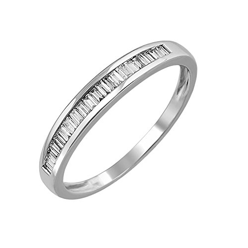 Set Baguette Diamond Wedding Band - 14K White Gold Baguette Diamond Channel Set Wedding Ring Band (1/4 carat)