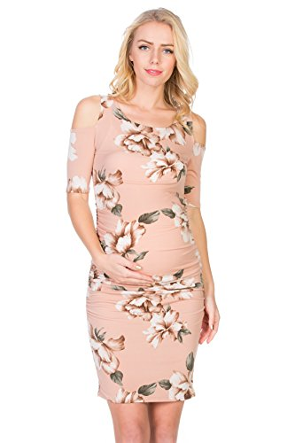 My Bump Women's Cold Shoulder Fitted Maternity Dress W/Side Ruched (Medium, Blush Flower)