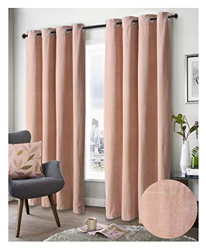 Ramanta Home Super Soft Luxury Velvet Window Curtain, 50 Inch x 84 Inch, Velvet Cotton Grommet Window Curtain Panel, Set of 2, Linen