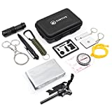 Emergency Survival Kit 12 in 1, SURVIVE Kit includes Flashlight Whistle Paracord Tactical Pen Multi Tool Compass Fire Starter Signal Mirror Wire Saw Blanket, Camping Fishing Car Gear EDC
