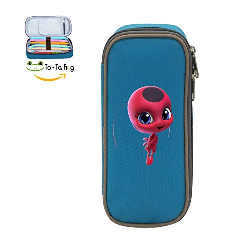 Large Capacity Canvas Mobile Phone Box Holder Portable Print With Ladybug Miraculous Logo Blue