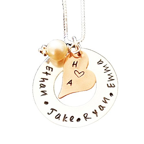Price comparison product image Personalized Jewelry ,  Hand Stamped Mommy Jewelry ,  Washer Disc with Copper Heart