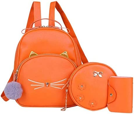 Mochila de Moda 3 Unids/Set Mochila de Mujer Mochila de Viaje para Adolescentes Mochilas Escolares de Cuero de la PU para niñas Bolso de Hombro Ligero de Gato Cuadrado de Dibujos Animados Naranja