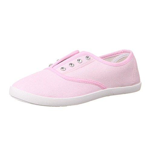 Damen Schuhe Halbschuhe Strass Deko Schlüpfschuhe Rosa