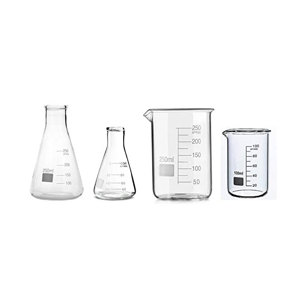 ABG BOROSILICATE GLASS BEAKER 100ML, 250ML AND BOROSILICATE GLASS CONICAL FLASK 100ML, 250ML IN A BOX 1