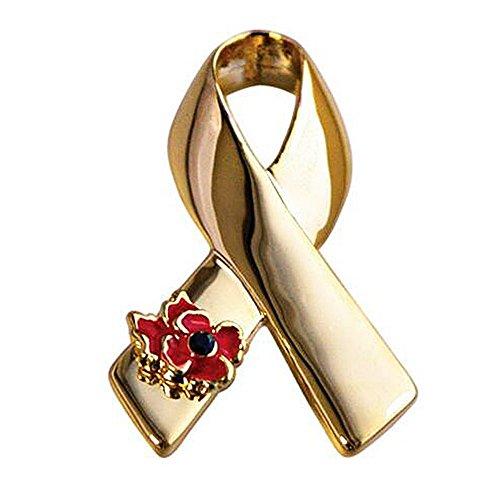 Poppy Pins Unisex Ribbon Collar Brooch Set Flower Lapel Pins Cancer Awareness - Brooch Gold Ribbon