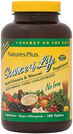NaturesPlus Source of Life No Iron Tablets - 180 Vegetarian Tablets - Whole Food Multivitamin & Mineral Supplement, Energy & Immunity Booster- Gluten-Free - 60 Servings